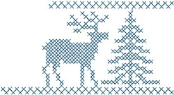 Reindeer with Tree embroidery design