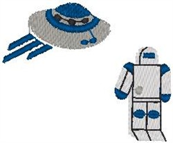 Spaceship and Robots embroidery design