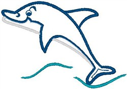 Dolphin Jumping embroidery design