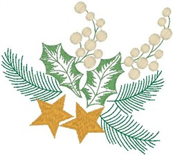 Pine Stars and Holly embroidery design