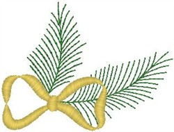 Pine Branch with Bow embroidery design