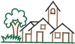 Village Outline embroidery design