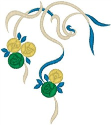 Ribbon with Flowers embroidery design