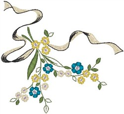 Flower Decoration with Ribbon embroidery design