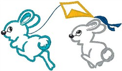 Bunnies Flying Kite embroidery design