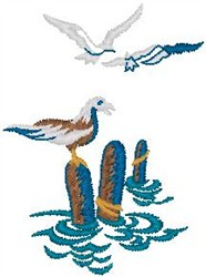 Sea Port and Birds embroidery design