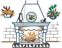 Fire Place embroidery design