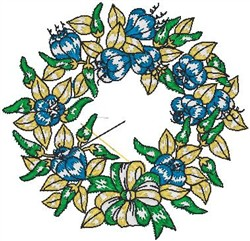 Tropical Flower Wreath embroidery design