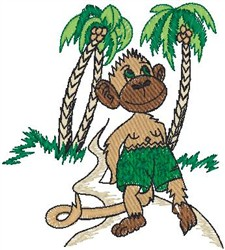 Monkey in Paradise embroidery design