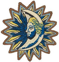 Sun Moon embroidery design