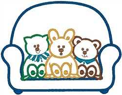 Bears on Couch embroidery design