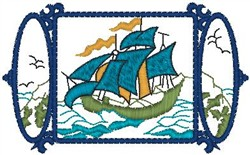 Boat Frame embroidery design