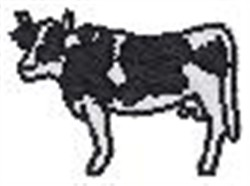 Cow in Silhouette embroidery design
