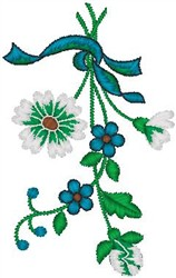 Flowers Tied with Ribbon embroidery design