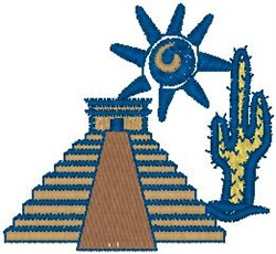 Mayan Pyramid embroidery design