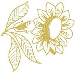 Monocolor Sunflower embroidery design