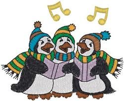 Penguins Caroling embroidery design