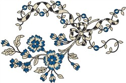 Flowers with Ribbon embroidery design