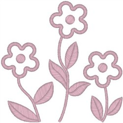 Simple Flowers on Stems embroidery design