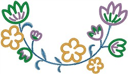Artistic Flowers Outline embroidery design