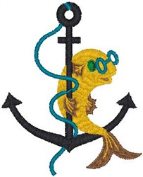Fish on Anchor embroidery design