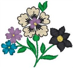 Assorted Blossoms on Stem embroidery design
