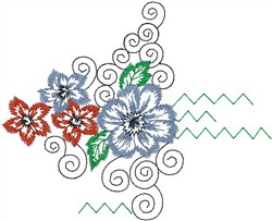 Tropical Flower with Swirls embroidery design