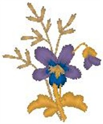 Flower on Stem embroidery design