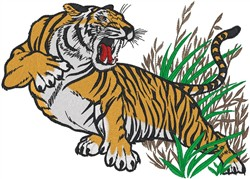 Surprised Tiger embroidery design