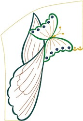 Butterfly on Leaves embroidery design