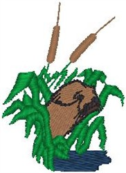 Beaver in Cattails embroidery design