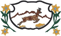 Jumping Deer Shield embroidery design