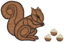 Squirrel at Lunch embroidery design