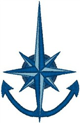 Compass Anchor embroidery design