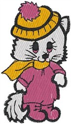 Cat Bundled Up embroidery design