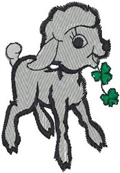 Lamb Munching Clover embroidery design