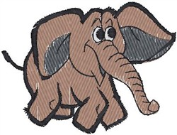 Running Elephant embroidery design
