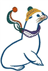 Seal in Hat embroidery design
