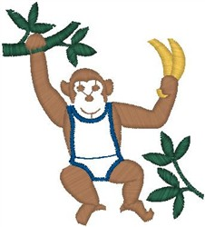 Monkey Swinging embroidery design