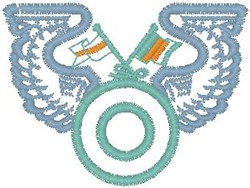 Circle Flag Wings Crest embroidery design