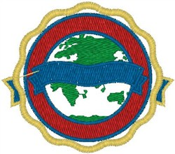 Earth Ribbon Crest embroidery design