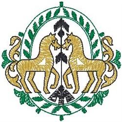 Horses Arrow Crest embroidery design