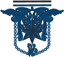 Blue Wings Crest embroidery design