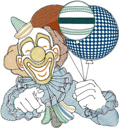 Clown with balloons embroidery design