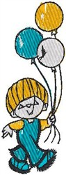 Boy with Balloons embroidery design