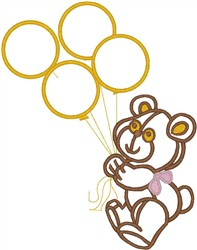 Bear with Balloons embroidery design