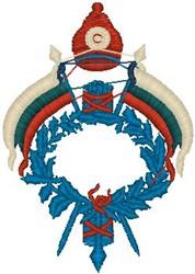 Decorative Flags Crest embroidery design