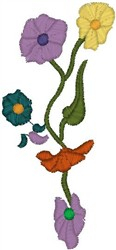 Flowers and Buds on Vine embroidery design