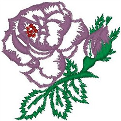 Flower and Bud on Stem embroidery design