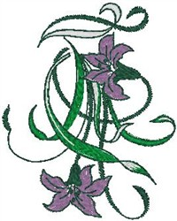 Tropical Flowers with Long Leaves embroidery design